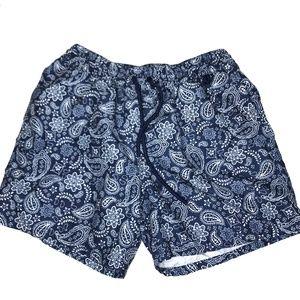 Merona Swim - Merona Blue Paisley Swim Board Shorts A170443